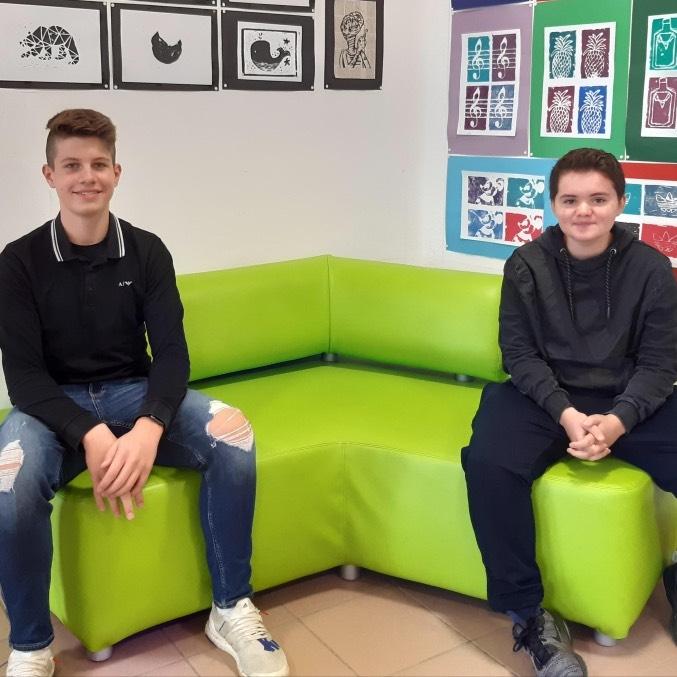 Tom Hüftle und Peter Herold, Schülersprecher der Georg-Kropp-Schule 2020/21